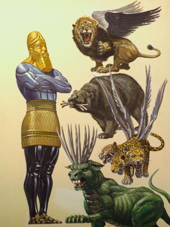 上图:但以理书中的巨像(但二31)和四兽(但七3)示意图。但以理在异像中所看见的四兽,就是尼布甲尼撒梦里的巨像所代表的四个相继崛起的世界大国。在尼布甲尼撒看来,这世界的权势好像是一个巨大可畏、荣耀辉煌的人像,但在属神的人眼中,世界的历史和权势只是残忍、邪恶、可怕的野兽。而无论是巨像还是四兽,「他的气一断,就归回尘土;他所打算的,当日就消灭了」(诗一百四十六4)。