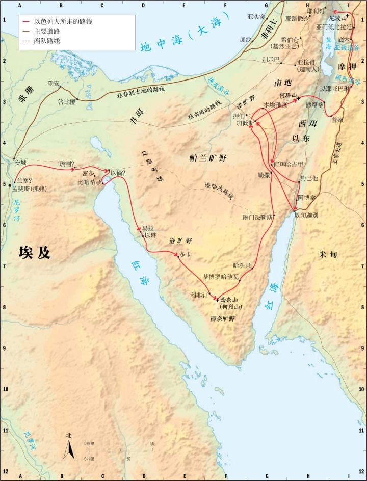 上图:以色列人出埃及可能采用的南方路线,持这种观点的学者认为红海是苏伊士湾的北端。「红海」一名源于旧约的希腊文七十士译本,希伯来原文是「芦苇海」,可能指有许多蒲草的湖泊或有许多海藻的海湾,地中海到苏伊士湾北端的现代苏伊士运河沿线有许多地方符合这个特征。从地中海边的咸水湖孟沙拉湖(Lake Menzaleh),到巴拉湖(Lake Balah)、廷萨湖(Lake Timsah)、苦湖(Bitter Lakes)和苏伊士湾北端,每个可能的「红海」地点都有学者支持。虽然我们并不能确定红海、比·哈希录、密夺、巴力·洗分(出十四2)的确切地点,但我们可以确定,无论哪处「红海」都不能截断回埃及的道路。