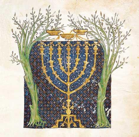 撒迦利亚异象中的金灯台和两棵橄榄树想象图。