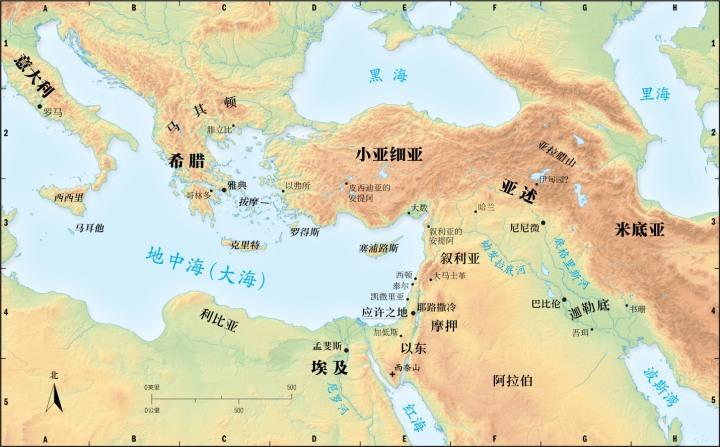 上图:应许之地迦南在欧、亚、非三大洲的十字路口,南方的非洲有埃及帝国,东方的亚洲后来崛起了亚述帝国、巴比伦帝国、波斯帝国,西方的欧洲后来崛起了希腊帝国、罗马帝国,附近又有亚兰、摩押、以东、非利士等国。无论是和平时期的国际贸易,还是战争时期的列强争霸,迦南都是必经之地。神把以色列人摆在这样的十字路口,亲自保守他们的安全,让百姓在蒙福中作神祭司的国度。当百姓顺服神的时候,这个位置有利于向来往的天下万民作见证;但如果百姓背离神,优势却会成为劣势,百姓必然经常遭受来往的列强侵扰,不得安宁。