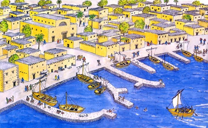 上图:耶稣时代迦百农渔村的想象图