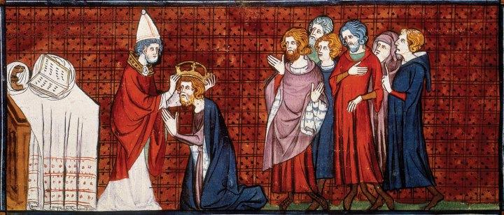 上图:描述主后800年罗马教宗利奥三世把法兰克王查理加冕为神圣罗马帝国皇帝的14世纪法国壁画。查理穿着君王的紫色袍子。