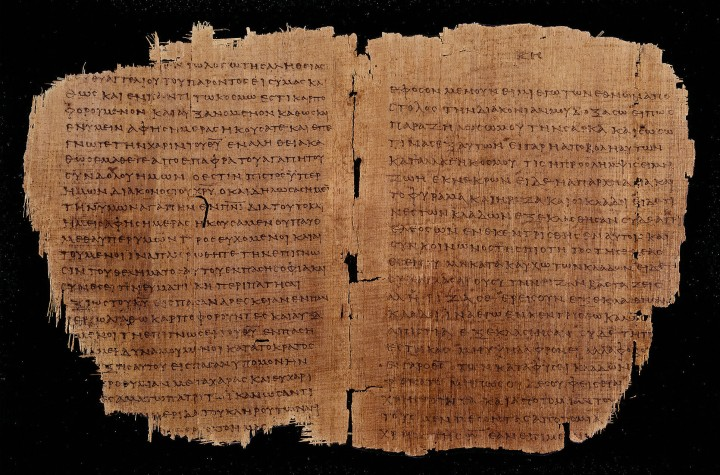 上图:目前已发现最早的新约蒲草纸抄本,代号Chester Beatty Papyrus II P46,包括大部分保罗书信和希伯来书。抄写年代可能是主后175-225年。