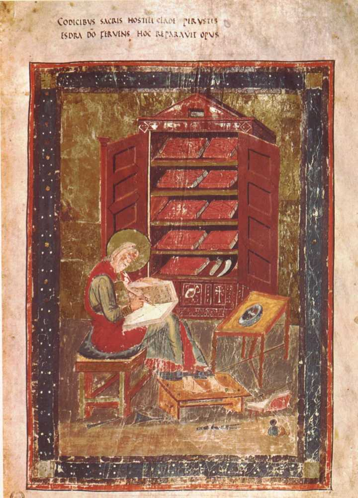 上图:8世纪的Codex Amiatinus是现存最早的完整武加大拉丁文译本手稿。上图是在旧约第5r页的以斯拉肖像。