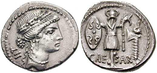 上图:罗马帝国的银币得拿利乌Denarius,上面有该撒头像和名字。