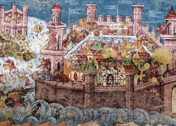 上图:中世纪描述1452年君士坦丁堡陷落的壁画。