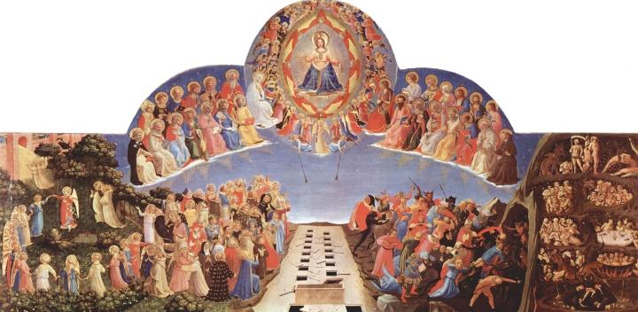 上图:文艺复兴时期佛罗伦萨艺术家弗拉·安杰利科1432-1435年所画的《分羊的比喻》。