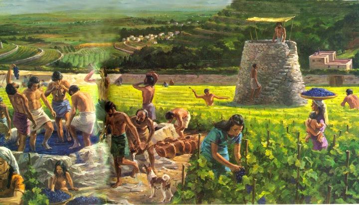 上图:古代以色列人收获葡萄的艺术想象图,右边是瞭望台,左边是压酒池。