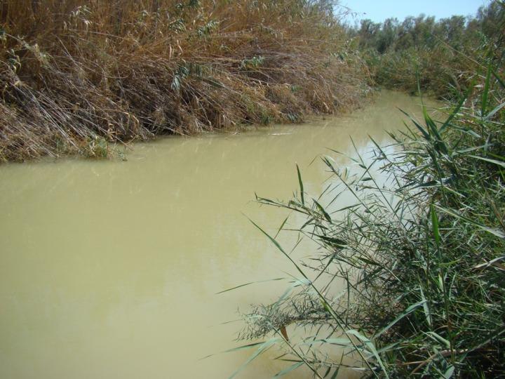 上图:约旦河下游含沙量很高,枯水期河水不宽也不深。施洗约翰就在这种地方施洗。