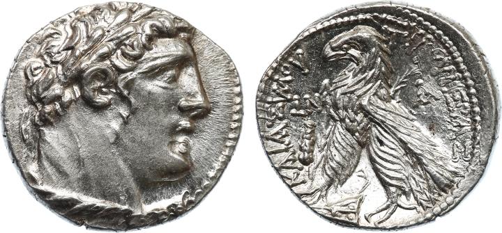 上图:主前126至主后65年在推罗铸造的推罗舍客勒。鹰的右边没有字母KP或KAP。