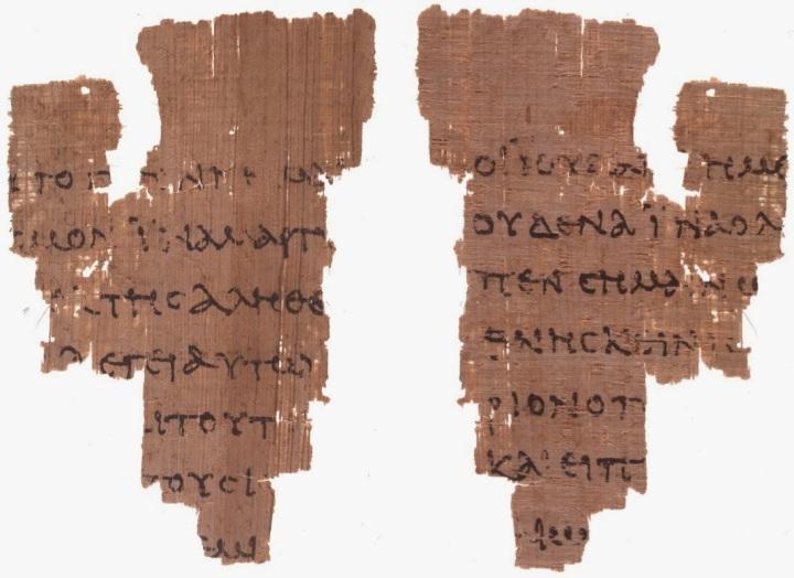 上图:目前已发现最早的约翰福音蒲草纸抄本的残简,代号Rylands P52,包括约十八31-33, 37- 38。根据字体的形状,抄写年代可能是主后90-125年。