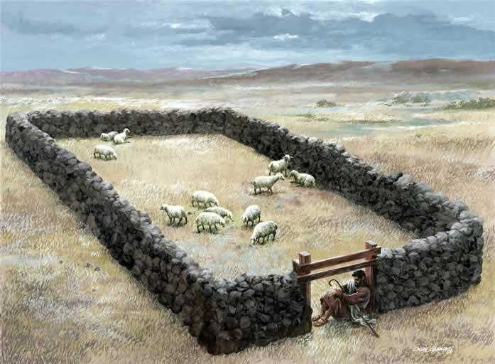 上图:古代以色列的羊圈,牧羊人就睡在门口。