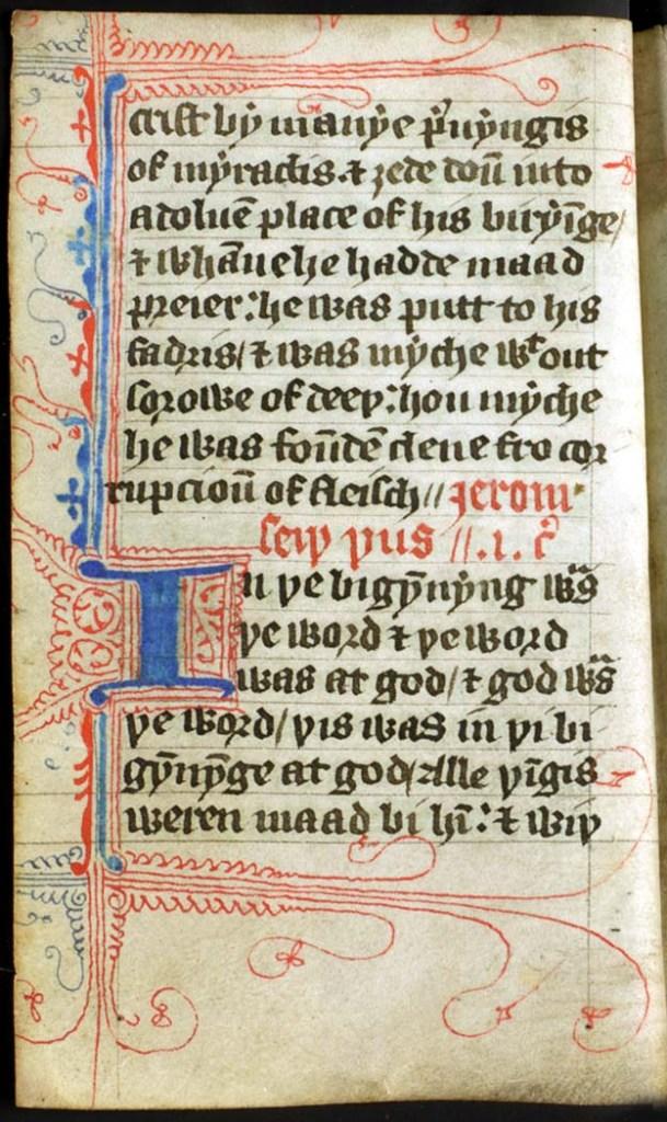 上图:第一本英文圣经手稿。威克里夫于1382到1384年间将拉丁文武加大圣经译成英文,从此英语世界的普通信徒有机会自己读圣经了。