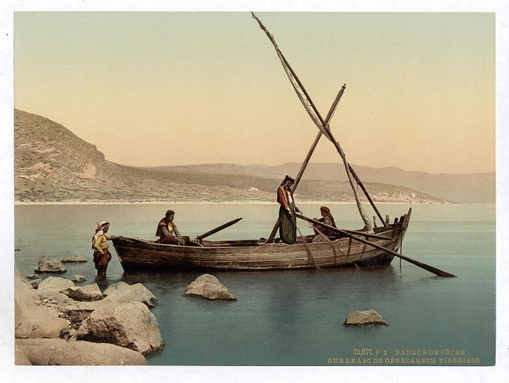 上图:1890年拍摄的加利利海的渔夫。现藏于美国国会图书馆。