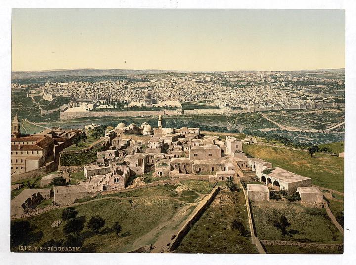 上图:1890年从橄榄山顶向西俯瞰耶路撒冷。现藏于美国国会图书馆。