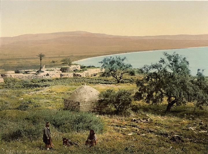 上图:1890年拍摄的加利利海西岸抹大拉村照片,抹大拉的马利亚出生于此。现藏于美国国会图书馆。