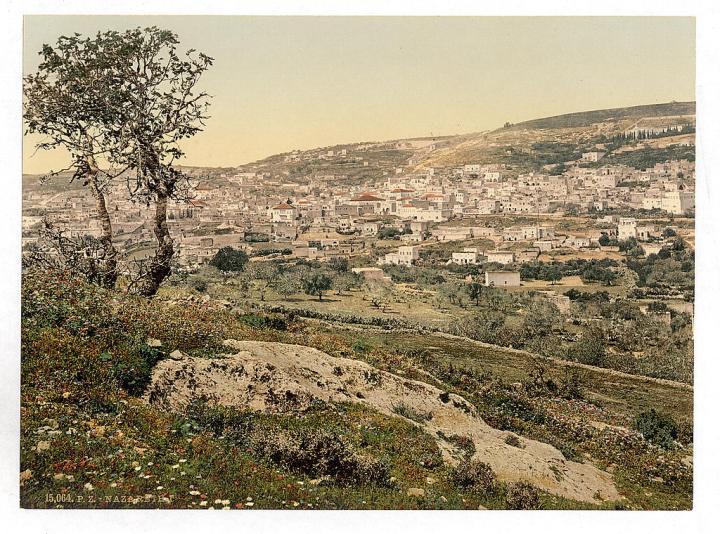 上图:1890年拍摄的拿撒勒城。现藏于美国国会图书馆。