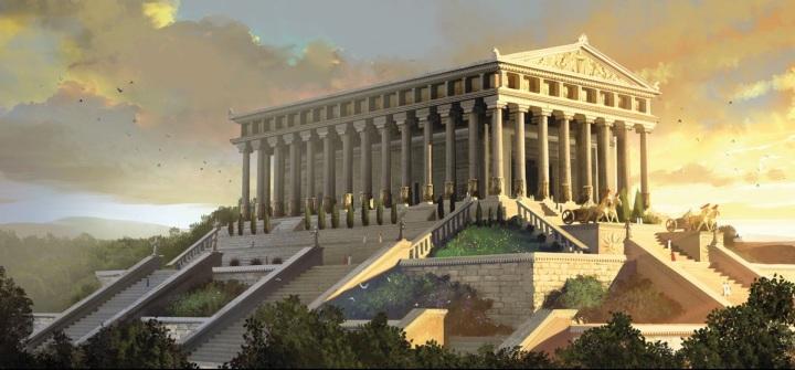 上图:亚底米神庙位于今天土耳其的以弗所,供奉女神亚底米,亦称黛安娜,是生育与丰收之神,远至亚细亚一带人士都来朝拜,是基督教兴起之前最普遍的民间信仰。神庙长130米,宽70米,有126根高18米大理石柱,由吕底亚王国的克罗索斯开始建造,历经120年,完成于主前550年波斯的阿契美尼德帝国,被称为古代世界七大奇观之一。