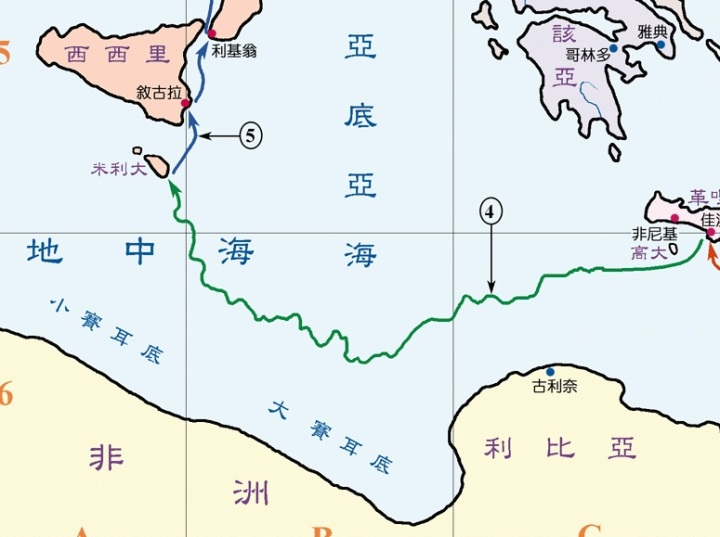 上图:保罗搭乘的船从高大岛向西飘流14天,到达马耳他岛。