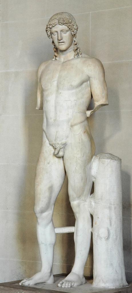 上图:被称为Apollo of Kassel的一系列阿波罗大理石像的罗马版本,1721被挖掘于意大利Paola湖附近的多米田别墅,现存于德国Kassel的Wilhelmshöhe城堡博物馆。原型是主前450年左右希腊雕刻家菲狄亚斯(Phidias)雕刻的雅典卫城蝗虫阿波罗(Apollo Parnopios Παρνόπιος)铜像,被第1-2世纪多米田时代的罗马人复制,有20多个已知的版本。启示录时代的罗马皇帝多米田热衷于崇拜阿波罗,自命是阿波罗的化身,还按蝗虫阿波罗的像铸造了硬币。阿波罗的称号Parnopios(Παρνόπιος,Parnopius )源于 πάρνοψ,意思是蝗虫之主、蝗虫杀手。