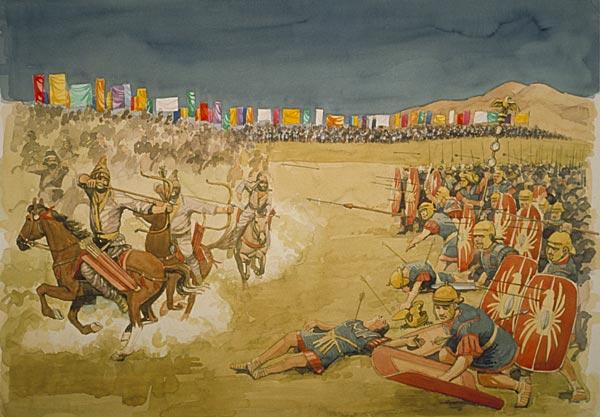 上图:主前53年的卡莱战役(Battle of Carrhae)揭开了罗马与安息帝国三百战争的序幕。安息帝国骑兵将军苏雷纳(Surena)用1000头骆驼驮箭,采用「安息回马箭 Parthian Shot」战术,以一万名骑射手击败了七个罗马军团共四万人。这是罗马史上最惨烈的败仗,罗马执政官克拉苏被杀,鹰标被夺。主后58年至63年,罗马与帕提亚又发生战争,以罗马惨败告终。此后罗马与安息帝国的战争持续到第三世纪,而与后继的波斯萨珊王朝的战争则持续到第七世纪。