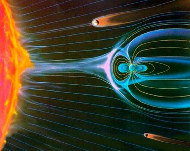 上图:从上到下分别是金星、地球、火星的磁场对比。由于没有磁场的保护,金星和火星完全暴露在太阳风的灼烧之下,使大气层里的水分子被太阳持续喷射的带电粒子流电离,分解成氢原子和氧原子,比较轻的氢原子被吹到太空,最终大气层中不再有水分子。 1、金星的自转速度比地球慢了243倍,不能产生足够强的磁场。 2、火星的自转速度和地球相似,但直径只有地球的一半,因此火星核很早就冷却,液态金属的对流减弱,停止了引起地壳磁化的发电机作用,火星磁化的地壳所剩的磁场太弱。