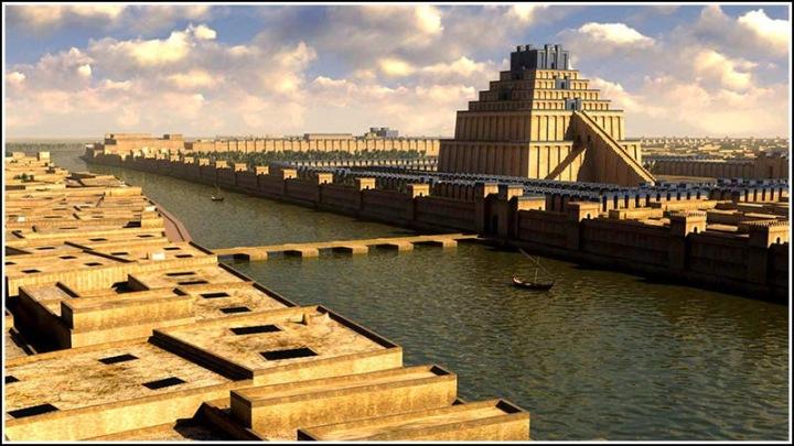 上图:古代巴比伦城的复原图,幼发拉底河穿城而过。旧约预言巴比伦的河流必将干涸,城会遭突袭(赛四十四27;四十五1-2;耶五十24、38;五十一30-32)。古希腊历史学家希罗多德记载,又深又宽的护城河围绕巴比伦,幼发拉底河穿城而过,把城一分为二,沿幼发拉底河而建的内层城墙安装了许多铜门,通往城内。波斯古列王围城期间,挖了一条水道,把河水引到从前尼托克里斯王后开凿的人工湖里,使幼发拉底河的水位降至大腿中部,波斯军队夜间从河道攻入巴比伦(但五30)。
