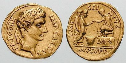 上图:古罗马硬币上戴着桂冠的奥古斯都。