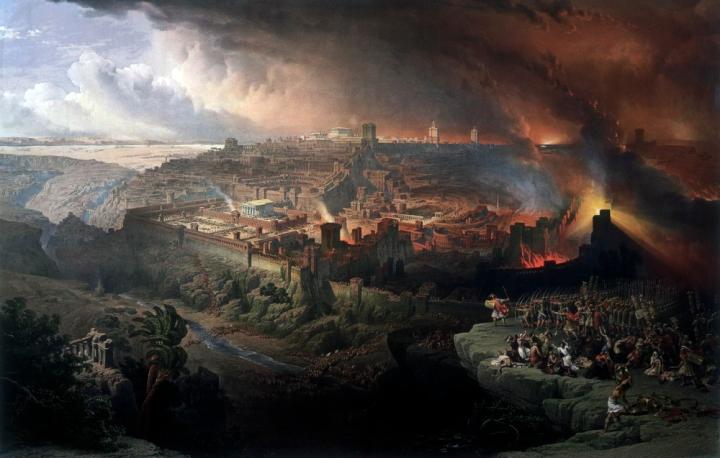 上图:19世纪David Roberts的油画,描绘主后70年提多将军率领罗马军队攻陷耶路撒冷的情景。