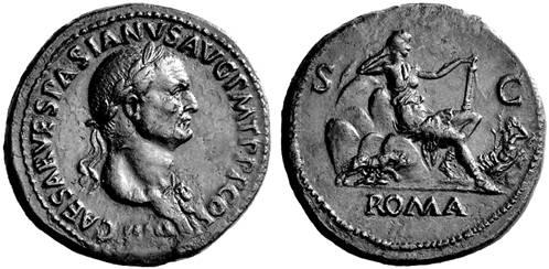 上图:主后71年铸造的罗马银币,图案是罗马女神坐在七座山上,还有一匹狼在喂孩子奶。另一面是罗马皇帝维斯帕先(Vespasian,主后69-79年在位)的肖像。