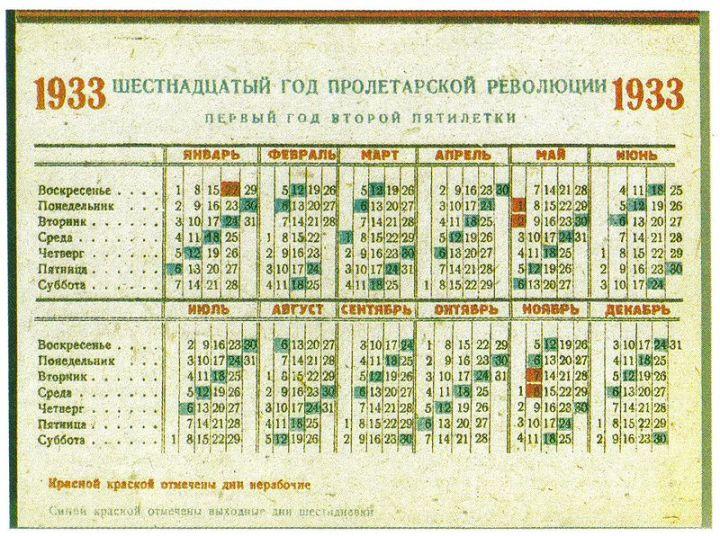 上图:1933年一周6天的苏维埃历法。无论是5天、6天还是10天一周,无论是法国大革命还是十月革命,最后都抵挡不住神所定7天一周的规律。