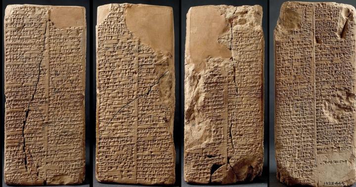 上图:主前7世纪的巴比伦创世史诗《埃努玛·埃利什Enuma Elish》的泥版残片,于1848年至1876年出土于尼尼微亚述巴尼拔图书馆(Library of Ashurbanipal)的遗址。整篇史诗大约有一千行,以阿卡德语分别写于七块泥板上。巴比伦创世史诗可能是主前15-14世纪成形的,其中创造的先后次序与创世记有一些共通之处,表明创造的历史存在于人类文明的记忆中。但与创世记相比,两者的不同之处更多:创世记中独一真神的创造过程简洁、庄严、圣洁、超越,万有的被造都是为了给人准备环境;而巴比伦史诗中众神的创造过程复杂、离奇、恐怖,充满了淫乱、争吵、仇恨、自私、暴力、杀戮和不孝,毫无道德观念,造人的目的只是为了代替众神从事繁重的体力劳动,地位下贱。巴比伦创世史诗,只是堕落之后的人类按着自己的形象来造神的结果,与创世记完全不能同日而语。