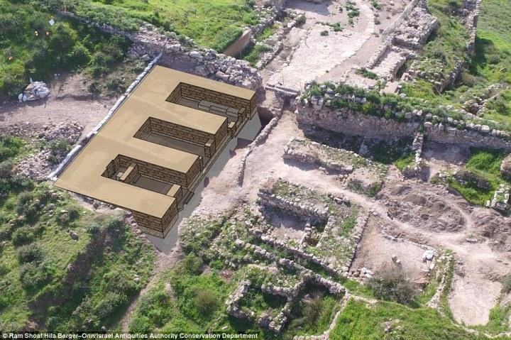 上图:拉吉(Lachish)城门口的遗址及复原示意图。从城门进来,两侧各有3个房间,平时作为交易、诉讼、公告的公共会所,战时作为防御工事。基色、米吉多、夏琐、撒玛利亚和但的遗址都有相同的城门结构。