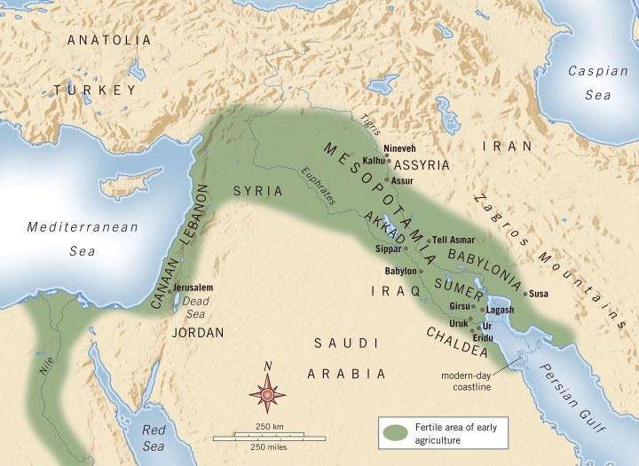 上图:古代美索不达米亚平原。美索不达米亚(Mesopotamia)是古希腊人对两河流域的称呼,两条河指幼发拉底河(Euphrates)和底格里斯河(Tigris),这两条河发源于今天土耳其境内的安纳托利亚(Anatolia)山区,流经美索不达米亚平原,在下游逐渐汇聚成阿拉伯河,流入波斯湾。两河之间的美索不达米亚是由沙漠、山峦和大海环绕而成的平原,周围缺少天然屏障,历史上有许多民族在此接触、入侵、融合,产生了人类最早的古文明,称为两河文明或美索不达米亚文明。这两条河每年氾滥,所以下游土壤肥沃,富含有机物和矿物质,同时该地气候干旱,需要用大规模的人力协作来进行灌溉,从事农业丰产。因此这里很早就形成了成熟的文字、众多的城市及周围的农业社会,相继出现了欧贝德(Ubaid)、乌鲁克(Uruk)、吾珥(Ur)、苏美尔(Sumer)、阿卡德( Akkadian)、巴比伦(Babylon)、亚述(Assyria)等古代文明,最终被波斯和希腊帝国所征服,渐渐被人遗忘。从美索不达米亚到尼罗河(Nile)流域的新月形地带,被称为肥沃新月(Fertile Crescent)。