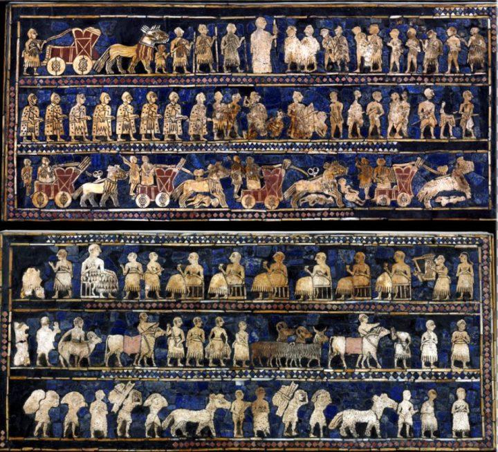 上图:「吾珥军棋 The Standard of Ur」两侧的图案。吾珥出土的「吾珥军棋」是一个木盒,盒子两侧镶嵌了极为精致的马赛克,一侧是战争和胜利的场面,另一侧是和平和宴会的场面,可以看出在亚伯拉罕出生前400多年,吾珥已经具有相当高的物质文明和艺术水平。但神却要他抛下这一切,前往当时的蛮荒之地迦南。原件制作于主前2600年,现存于大英博物馆。