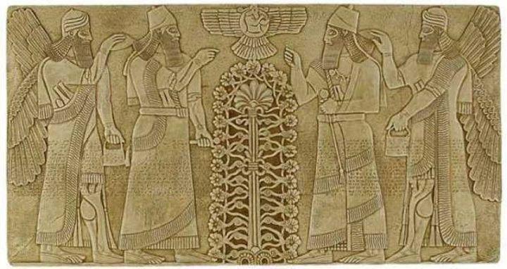 上图:苏美尔(Sumerian)生命树的壁画。「生命树」的记忆存在于各个古代文明之中,以不同的形式出现在古代苏美尔人、埃及人、巴比伦人、亚述人、中国人、印度人和乌拉尔图人等许多古代文明的文献和遗址里。这从侧面佐证人类的祖先都来自伊甸园。