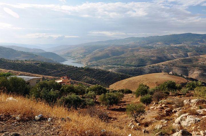 上图:雅博河就是现代的哲卡河(Zarqa River),从约旦高原向西流经基列地,在死海和加利利湖的中间汇入约但河