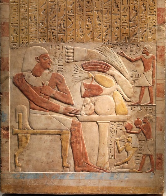 上图:古埃及第十二王朝辛努塞尔特一世(Senwosret I,主前1971–1926年)的管家墓葬的石碑(Stela of the Steward Mentuwoser),现藏于纽约大都会艺术博物馆。主人盼望在阴间还能享用筵席。
