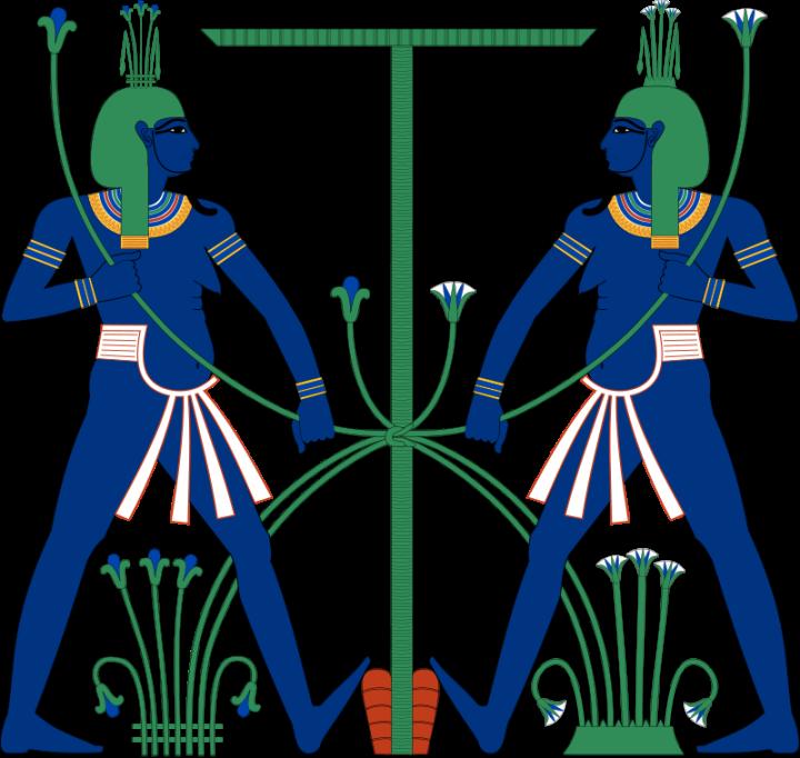 上图:古埃及的尼罗河神哈比(Hapi),被描绘为长着女子胸部的男人。下埃及的哈比神头上带着莎纸草,上埃及的哈比神头上带着莲花。