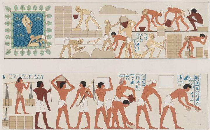 上图:古埃及第十八王朝底比斯Rekhmire墓的壁画,画中一群闪族奴隶正在做砖。古埃及人的房屋、城墙都用泥砖建造,甚至用泥砖来建造金字塔。做砖的方法是用把土加上碎草秸和成泥,放进模内压实,扣在场上晒干。
