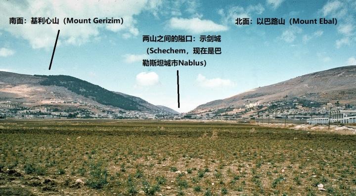 上图:「示剑城」位于迦南地中部、以巴路和基利心山之间的隘口,主前2500-2250年的叙利亚埃勃拉泥版(Ebla Tablets)和主前1880-1840年的埃及Sebek-khu石碑(Sebek-khu Stele)中都提到过示剑城。示剑城位于南北和东西贸易干道的交叉口,是一个商业中心,交易葡萄、橄榄、小麦、牲畜和陶器。该城因有许多泉水,土地很肥沃,所以物产丰富。现在这里是一个巴勒斯坦城市Nablus,郊区的Tell Balata遗址被认为就是古代的示剑城。