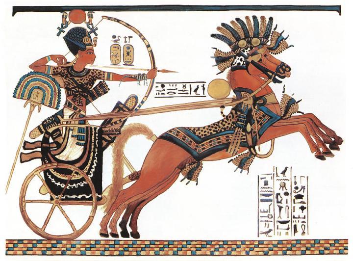 上图:古埃及第十八王朝法老图坦卡蒙(Tutankhamun,主前1332–1323年)驾战车的壁画。
