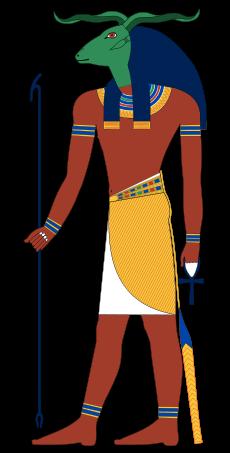 上图:古埃及神话中公羊首人身的库努牡神(Khnum),被称为尼罗河源头之神、陶工之神和造物之神。