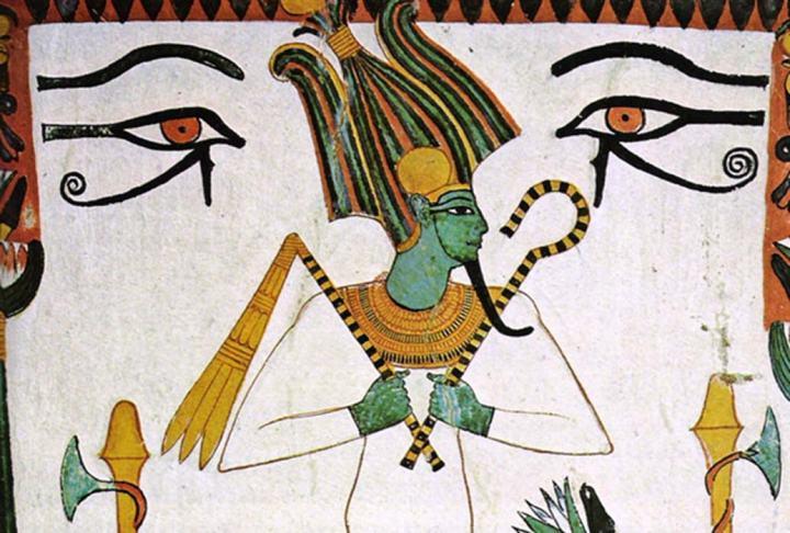 上图:古埃及神话中的俄西里斯(Osiris)是掌管阴间的神,也是生育之神和农业之神。