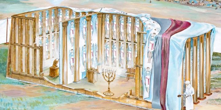 上图:帐幕竖板的示意图。这些竖板很可能是框架结构,所以可以从柱子之间看到内层的彩色幔子。图中所画的幔子上的基路伯只是示意图。