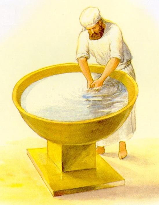 上图:铜做的洗濯盆和盆座示意图。圣经并没有指出其尺寸。