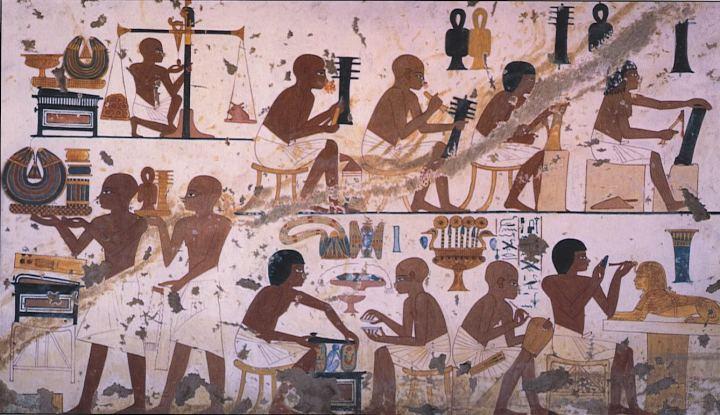 上图:古埃及第十八王朝Nebamun墓中的壁画,埃及工场中的工匠正在协同工作。古埃及的工匠通常受过良好的训练,手艺好的工匠在社会上很受尊重,生活也比较舒适。