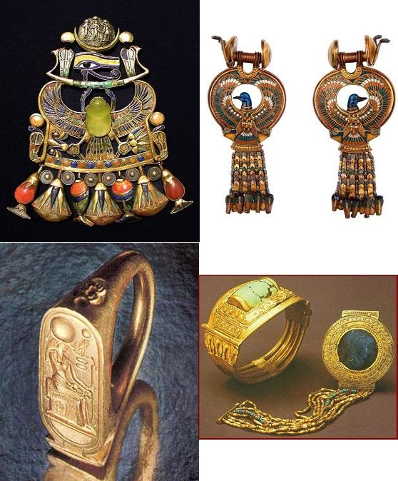 上图:古埃及第十八王朝法老图坦卡蒙(Tutankhamun,主前1332-1323年在位)墓中出土的胸前针、耳环、打印的戒指、手钏,非常精美。