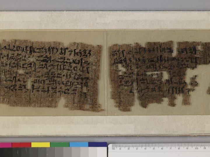 上图:记录在蒲草纸上的古埃及文学《辛奴亥的故事 Story of Sinuhe》。记叙了古埃及第十二王朝(主前1938-1756年)的辛奴亥在迦南地和黎巴嫩漫游的故事,其中提到迦南地是一个自然资源丰富、农产丰盛的地方。