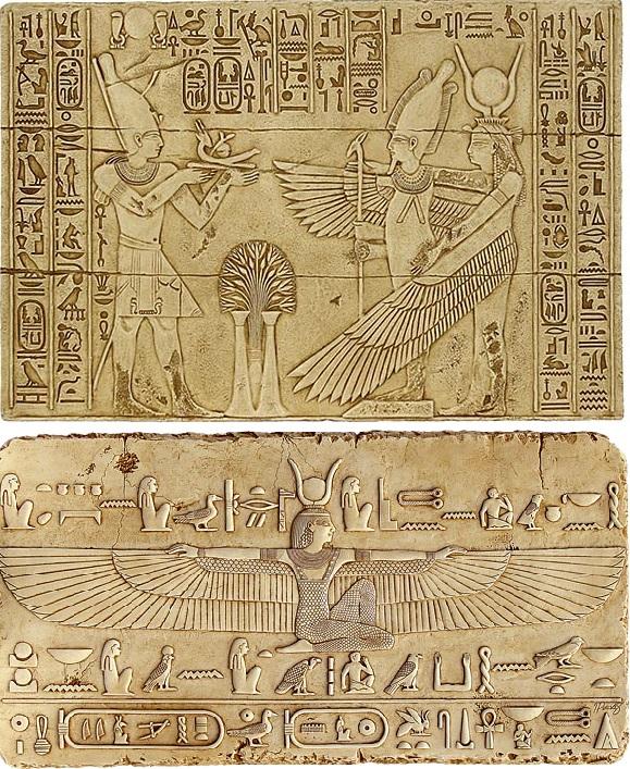上图:主前14世纪古埃及壁画中的伊西斯女神(Isis)张开翅膀保护奥西里斯神(Osiris)。许多古代中东文化都用翅膀来比喻保护,尤其是古埃及。